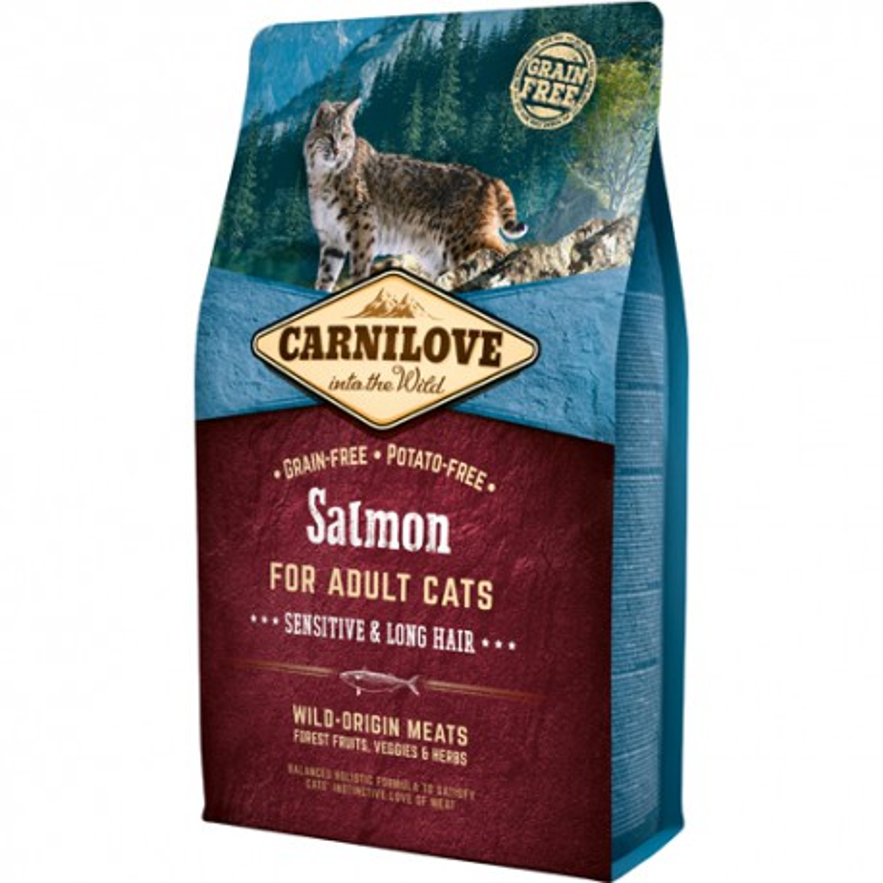 Carnilove Kat Adult Salmon – Sensitive og Long Hair 2kg