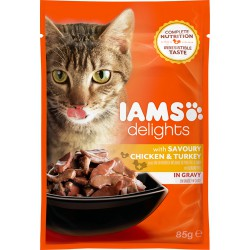 Iams Cat Adult Savoury Chicken & Turkey in Gravy 85g