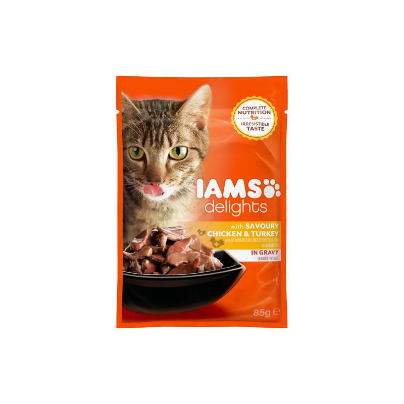 Iams Cat Adult Savoury Chicken & Turkey in Gravy 85g