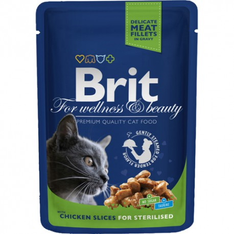 Brit Premium Cat Pouches Chicken Slices for Sterilised 100g