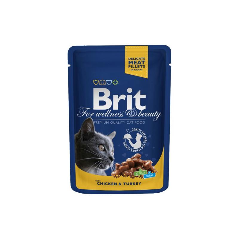 Brit Premium Cat Pouches med kylling & Kalkun 100g