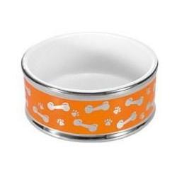 Keramikskål hund 18cm orange
