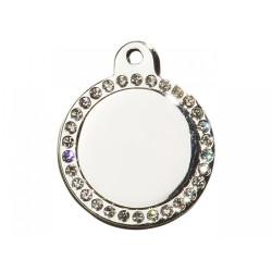 Hundetegn Cirkel Glamour Stor Sølv